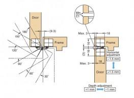 HES3D-90 - 3-Way Adjustable Concealed Hinge - Sugatsune Kogyo UK Ltd