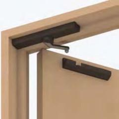 A surface mounting soft-closing mechanism for free swinging interior doors using Lapcon technology. A powerful spring and hydraulic damper control the closing of the door in the last few degrees giving a silent close. In operation the door feels like a normal interior door. Installation is easy as the device mounts to the inside top of the door with the catchment screwing to the inside of the door frame. It is visually discreet and comes in a range of colours.