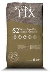 StoneFix S2 White Rapid Set Flexible Adhesive is a professional and highly flexible wall and floor tile adhesive designed for fixing tiles to a variety of substrates including timber surfaces where slight movement can occur such as floating floors, tongue and ...