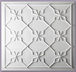 The inspiration for this ceiling design is taken from the Great North Bedchamber of Horace Walpole's Gothic Castle at Strawberry Hill. The setting out of the mouldings on our drawing assumes dimensions of 3830 x 3830mm.   However alternative dimensions can be offered within the restraints of the repeat pattern dictated by the design.   We will be pleased to offer suggestions once you have given us the available dimensions.  The mouldings that make up the Strawberry Hill Ceiling are supplied in sections to be applied to an existing ceiling and jointed insitu.  The Strawberry Hill Ceiling is suitable for a room with a minimum height of 2.8m.  We can offer guidance on the selection of a perimeter cornice if required.