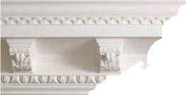 Amazing decorative large Georgian cornice profile manufactured in 3 metre lengths  This handsome, architectural moulding works well in a more masculine room. Care must be taken in the setting out of the brackets   Height: 255 mm   Projection: 270 mm   Repeat: ...