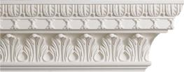Remarkable ornate plaster cornice unlike any other in the range. Manufactured in 3-metre lengths  A handsome foliate design for this Garden Room; deep undercut mouldings make this very suitable for a drawing room, dining room or library  Height: 195 mm   Proje...