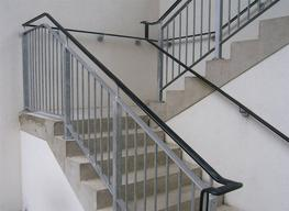 We offer two basic mild steel balustrade designs suitable for indoor or outdoor applications; both designs are appropriate for both top-fixing or side-fixing.  Wall mounted handrail is available for all of our balustrade designs....