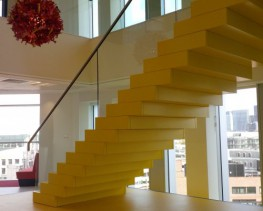 We produce a range of straight staircase designs which offer a stunning visual feature to any building. These stairs are individually designed and manufactured enabling us to combine a number of materials and finishes.