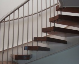 We can supply timber or stone treads, cantilevered from a wall stringer (either exposed or hidden behind wall finishes), with the treads seeming to float from the adjacent structure without any visible support.