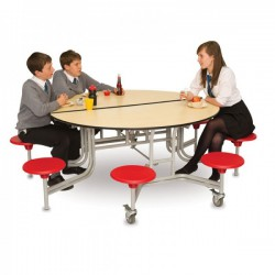 Available with 8 spaced seats. Laminated table top in a choice of Maple, Blue or Grey with tuff edging and MDF core. Frame and legs Grey....