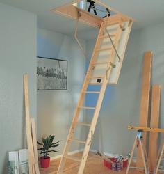 3 section folding loft ladder - Requires no headroom or storage space in the loft as ladder stores completely on hatch. Supplied complete with hatch, lining and ladder for a quick and easy installation. Includes plastic architraves and operating pole. Spring c...