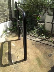 A high security bike stand, offering the ability for all cycles and sizes to be locked with both the front wheel and the frame. Also double as a tapping bar if being installed onto public areas....