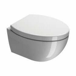 An elegant wall-mounted pan also available with matching SLIMLINE concealed cistern and soft close seat.