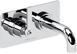 2 Hole wall mounted basin mixer, left handed, 144mm spout length image
