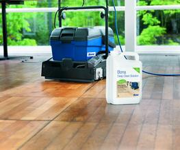 Wooden floors are exposed to everyday wear and tear, leading to tired and dull surfaces. Heavy foot traffic, excessive grit and stains all affect the condition of your floor as well as the appearance and freshness of your premises.  Salisbury Hardwood Flooring's Bona Deep Clean service can restore your wood floor to its former glory, by combining the Bona PowerScrubber machine with a industrial strength cleaning solution to give an incredible clean, cleaning deep into the floor surface to remove the toughest dirt, grime and even scuff marks.  The cleaning solution has been specially formulated to clean wooden floors whilst being child and pet safe immediatly after the clean.  We can clean an area of 5002 ft in just under an hour, furniture can be replaced immediatly after the service or cleaned around. As it takes only one hours to do service such a large area you would not have to close your commerical property and can even have the work done over a lunch hour.