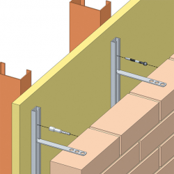 Designed for use with SFS steel channel studwork, the Wincro WC27 masonry restraint system is designed to tie brickwork back to steel studwork inner leafs (SFS).