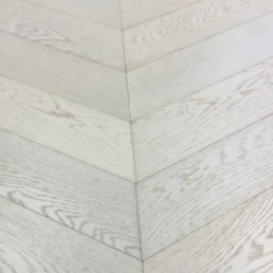 Chevron Parquet Engineered Pearl White 60 Degree Block image