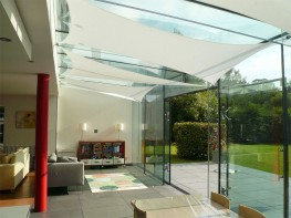 InShade conservatory sails are the simple, modern solution for controlling heat and glare. Their ability to eliminate glare and reflect over 70% of the sun's heat allows you to enjoy a comfortable conservatory all year round.