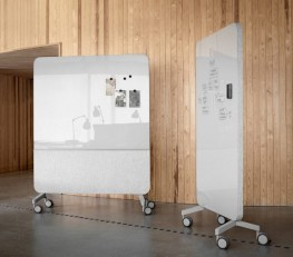 MOOD FABRIC MOBILE GLASSBOARD BY TB SPACES | Mobile Magnetic Dry-wipe Glass Writing Board with Acoustic Cushioning & Fabric Backing image
