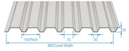 RoofDek D35 offers a Cover width of 900mm, with a maximum single span of 2.4m.