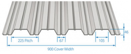 RoofDek D46 offers a 900mm Cover width with a span of over 2.9m.