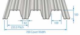 D100 offers a Cover width of 700 mm with a single span of over 5 m and a double span of over 7m.Material specificationGalvanised steel:Tata Steel Galvatite®, hot dip zinc coated steel EN 10326-S280GD+Z275.Guaranteed minimum yield stress 280N/mm2. Minimu...