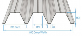 RoofDek D153 offers a Cover width of 840 mm with a single span of over 6.7 m and a double span of over 8 m.