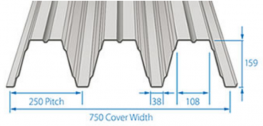 RoofDek D159 offers a Cover width of 750 mm with a single span of over 7m and a double span of over 8.5 m.
