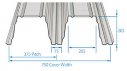 RoofDek D200 offers a Cover width of 750 mm with a single span of over 8.4m and a double span of over 10 m.