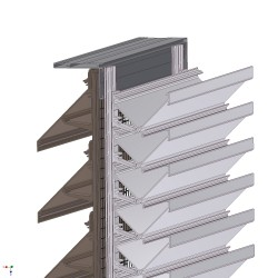 The Aquarius XLINE-AQ75 louvre system features a solid, 'Z' section, extruded aluminium louvre blade profile set to a 75mm vertical pitch spacing. The XLINE-AQ75 louvre system can be used to provide louvre panels suitable for glazing into curtain walling, wind...