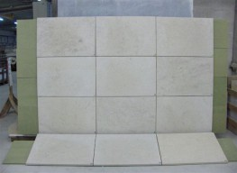 > Oolitic limestone, Middle Jurassic, Bathonian stratum. > Uniform cream/beige background with slightly stippled fine or medium grain shells. > Recommended uses include external wall cladding, ashlar stonework, architectural dressings and internal wall linin...