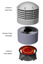 Ventive F naturally removes stale air from every room and supplies fresh, pre-warmed air into the house via a central duct and a supply grill located in the ground floor hallway or communal area. The large heat exchanger is designed specifically for low airflo...