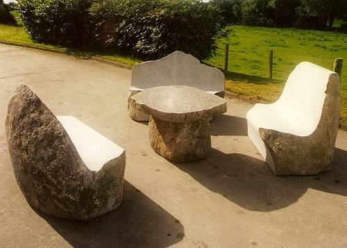 Natural Glacial Boulder Bench Outdoor Seating By Galloway