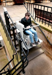 Our Stairiser inclined platform lifts are an ideal access solution if your building cannot accommodate a vertical lift, carrying one person safely over a straight or curved stairway, seated in a wheelchair or on the seat provided on the lift.