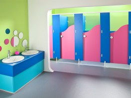 The Brecon range is the most popular choice for junior schools. The colourful panels and unique door shapes provide a great washroom for children.