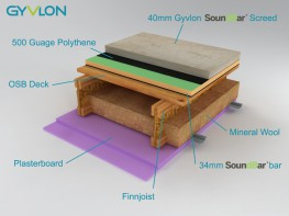 Gyvlon SoundBar screed is a blend of Gyvlon Binder, selected aggregates and clean potable water, to produce a pumpable self smoothing, flowing screed (manufactured to BSEN 13813:2002 and to the specific requirements of the SoundBar system)....