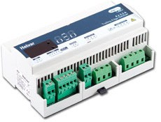DIN-rail mounted 4-channel dimmer for leading- or trailing-edge loads. Each channel is capable of controlling 2.2A (500 W). The dimmer supports capacitive and resistive loads. Can be connected to mains voltage tungsten lamps and low voltage lamps with electron...