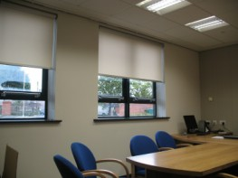 Contract cassette roller blind system with heavy duty hardware and extruded aluminium headbox, suitable for larger windows....