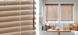 Our Natural Elements™ blinds are a unique combination of aluminum slats with a real wood valance, bottom rail, tassels and tilt wand. MagnaView® is optional. de-Light™ is standard.
