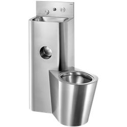 Combi KOMPACT TC basin WC floor std right 304 st steel satin (ex-0616130006) Combination unit: washbasin and floor-standing WC pan on right sidewith recessed toilet roll holder.  Service duct installation (through-the-wall).  Bacteriostatic 304 stainless steel...