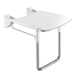 Lift-up shower seat with leg for fixed installation, for people with reduced mobility. HR Comfort seat. Large model. Retained in upright position. Slowed down descent. Detachable solid seat made from high strength polymer. Suitable for intensive use in public ...