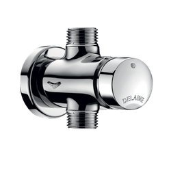 "Exposed time flow urinal valve: For standard or siphon action urinals. Soft-touch operation. Time flow ~3 sec. Flow rate pre-set at 0.15 l/sec. at 3 bar, can be adjusted. Solid brass body M1/2"". Wall plate. Straight for in-line inlet. 10-year warranty. Advanta..."