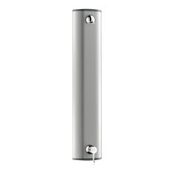"SECURITHERM thermostatic sequential shower panel:    • Epoxy-coated aluminium shower panel for exposed, wall-mounted installation.    • Top inlets with M1/2"" stopcocks.    • SECURITHERM thermostatic sequential mixer.    • Temperature control from cold ..."