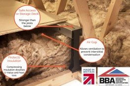LoftZone provides a safe access platform, or storage deck, in the loft whilst protecting up to 350mm of insulation. It is the only product approved for this purpose by the BBA, and it is superior to raising the deck with timber as it does not introduce the col...