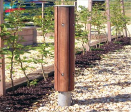 The Langley Bollard LBD100 is a arched slat, timber clad bollard with a steel core. The four Hardwood Iroko slats naturally enhance the appearance of the bollard, while the steel core provides the protection element a bollard is used for. The arched timber sla...