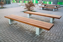 The Langley Bench LBN113 is a 3m bench which has a vertical slatted top and granite plinth mounts for easy placement on finished grade. The 3000mm long benching unit can seat multiple users at once and can be manufactured to match any project scheme with vario...