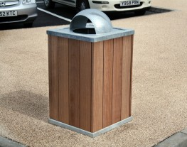 The Langley Litter Container LLC104 has a steel frame structure clad with various timber slat options for a natural finish to match other street furniture elements in the scheme. The litter bin comes with a 90 Litre galvanised steel liner which can be removed ...