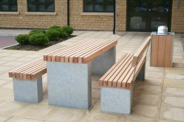 The Langley Table LPT102 has the Langley standard vertical slatted top, available in various recycled plastic colours or timber options and uses the steel plinth type fixing system which is the lighter alternative to the granite plinth mounts. These galvanised...