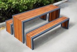The Langley Table LBN117 is a steel framed table with timber or recycled plastic slat infill on the top and ends. This table can either be free standing or bolted directly to the finished grade for a more secure option. The galvanised steel frame work can be l...