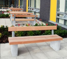The Langley Seat LST102 uses the standard Langley style vertical slat bench top but utilises the granite plinth mount legs. This style of plinth mounting means that the Langley Seat can be placed directly onto finished grade after any complex paving or surface...