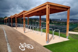 The Sheldon Cycle Shelter SCS304 is a sedum roof modular timber cycle shelter solution with galvanised steel foot supports and a single row of cycle rack for bicycle storage. The shelter is made up of multiple bay units with 2270 x4200mm of internal clearance ...