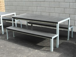 The Sheldon Picnic Table SPT317 is an economy option table and bench set that still retains a minimal modern visual. The simple angle iron galvanised steel framework provides the support for the slatted table and bench tops, which can be adjusted to fit the ex...