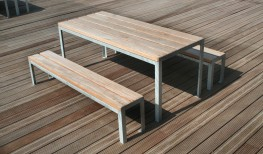 The Sheldon Table SPT318 is a stand alone economy option table that still retains a minimal modern visual appeal combining with the Sheldon Bench SBN332 benches to provide a complete street furniture solution. The simple angle iron galvanised steel framework p...