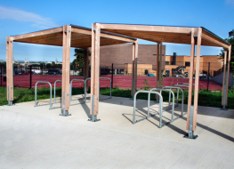 The Sheldon Cycle Shelter SCS301 is modular timber structure single row cycle shelter solution with galvanised steel foot supports and a polycarbonate roofing system to protect bicycles from the elements. The shelter is made up of bay units with 2500 x4200mm o...